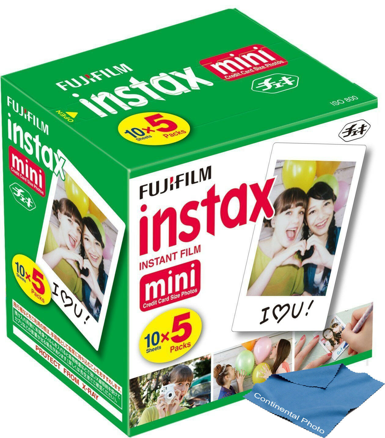 50 Sheets Fuji Fujifilm Instax Mini Instant Film w Cloth for Polaroid 300 Camera