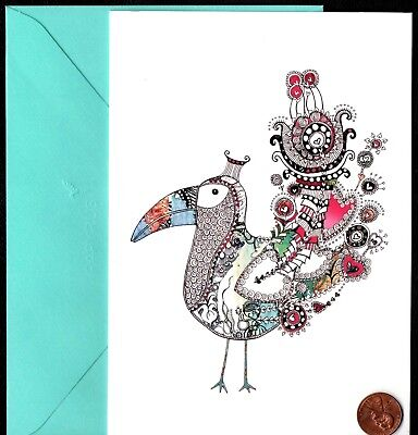 PAPYRUS Ornate toucan Bird Feathers Colorful  - Blank Note Greeting Card - NEW