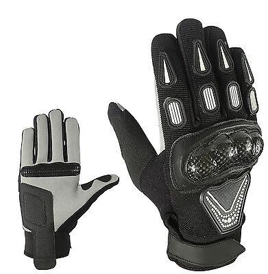 Sport Motorrad Handschuhe Vollfinger Sommer Leder Gloves Gr S M L XL und 2XL ()