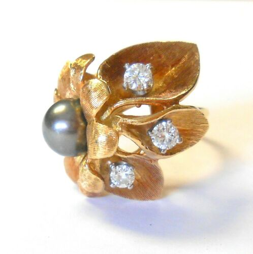 Vint Black South Sea Pearl Diamond Flower Leaf 18K Yellow Gold Ring Size 7.25