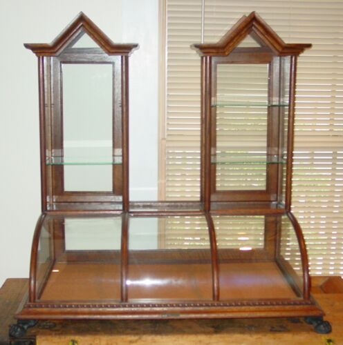 Exceptional large antique oak twin tower cathedral showcase----15622