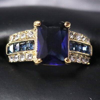 (Sparkling Princess Blue Sapphire Ring Women Engagement Jewelry 14K Rose Gold)