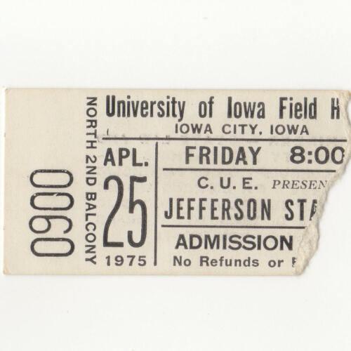 JEFFERSON STARSHIP & COMMANDER CODY Concert Ticket Stub IOWA CITY 4/25/75 Rare