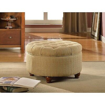 HomePop Tan and Cream Tweed Tufted Storage ...