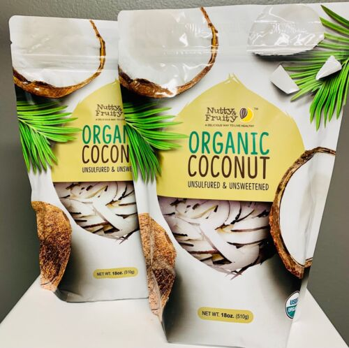 Nutty Fruity Organic Coconut (Unsulfured & Unsweetened) 18oz (2Pack)