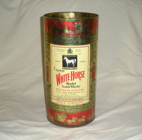 Vintage White Horse Scotch Whisky Holiday Gift Can Tin
