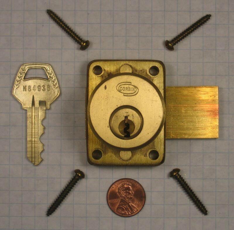 "CORBIN #N0764L CABINET LOCK, SATIN BRASS, FOR 7/8"" THICKNESS, KEY #M84936"