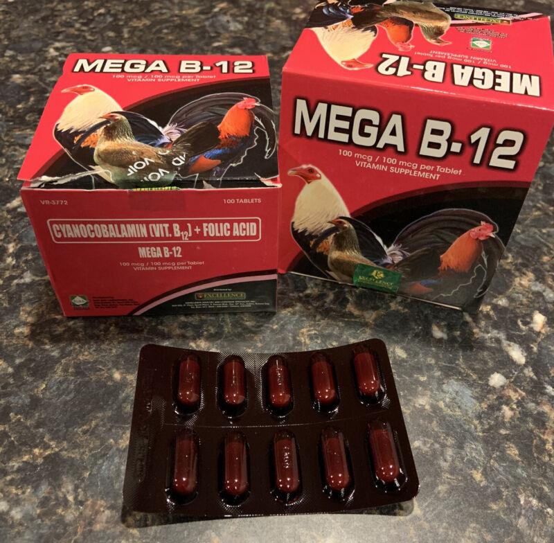 Mega B-12 5000 WITH Folic Acid Vitamin Supplement Gamefowl Gallos 10 Tablets