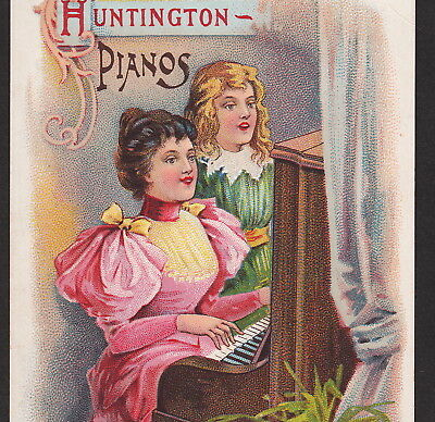 Huntington Piano 1800s Mahan Music Courtland NY Victorian Advertising Trade Card