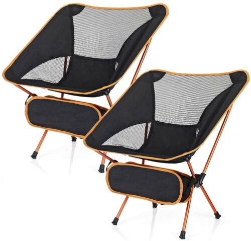 2 Pack Camping Chairs Ultralight Portable Compact Folding Beach Chairs Carry Bag