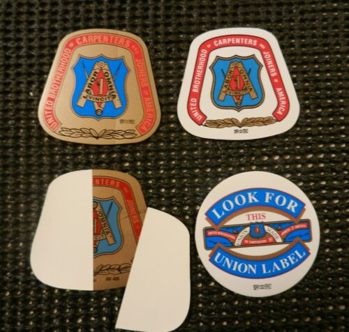"4) ""BEST Quality UBC UNION CARPENTER STICKERS 3 HARD HAT & 1 WINDOW STICKER USA"