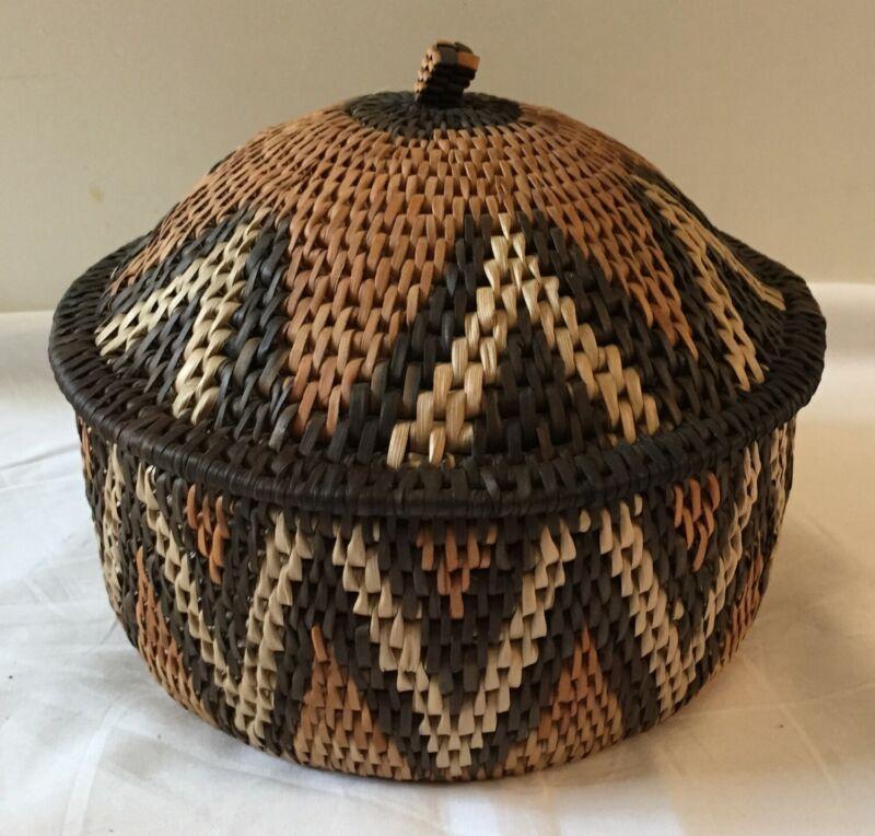 "Eshowe Zulu South Africa Handwoven Woven Basket by Julia Mgwenya 7.5"" Diameter"