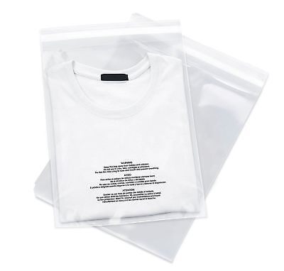 1000 10x13 Poly Bags Resealable Suffocation Warning Clear Merchandise 1.5 Mil