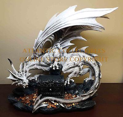 Large 18.5 inches White Dragon Protecting Treasure Box Fantasy Statue Figurine