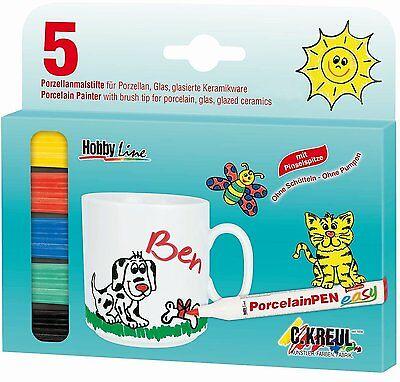 Hobby Line 5 Porzellan Malstifte Porzellanmaler Pinselspitz 5er Set NEU