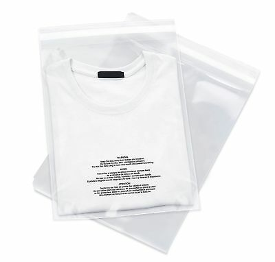 100 12x18 Poly Bags Resealable Suffocation Warning Clear Merchandise 1.5 Mil