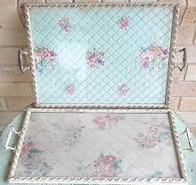 2 Quilted Vintage Serving Glass Trays Collectable Malanda Tablelands Preview