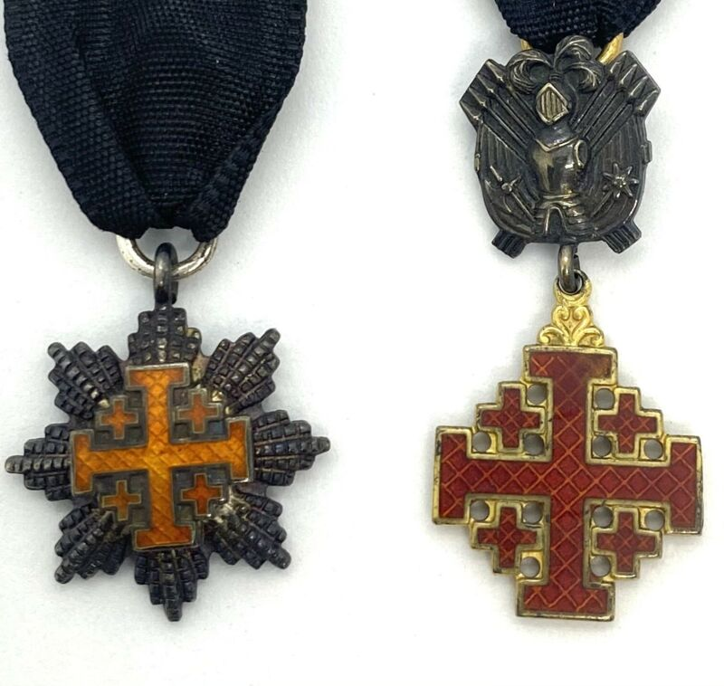 Vatican Order Of Holy Sepulchre Commander Cross Jerusalem  Mini Medal & Star