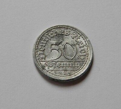 WEIMAR: 50 Pfennig 1921 A, J. 301, sehr schön, LEICHT DEZENTRIERT !!!