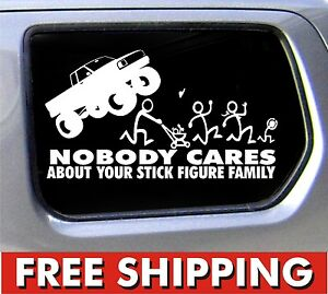 Stick-Figure-Family-Nobody-Cares-Monster-truck-funny-stickers-car-decal-bumper