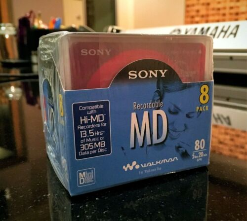 Sony MD Recordable MiniDisc, Factory Sealed 8 pack of 80min discs, LP4 compatibl