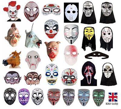SCARY HALLOWEEN MASKS Fancy Dress Accessory Clown Evil Horror Mask Lot UK (Scary Halloween Clowns)