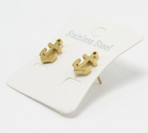 One Dozen Wholesale Gold Stainless Steel Anchor Earrings #E1367G-12