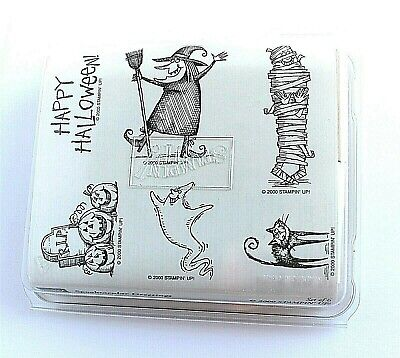 Stampin Up 2000 Spooktacular Greetings Halloween Set of 6 Unmounted Rubber - Stampin Up Halloween Stamp Sets