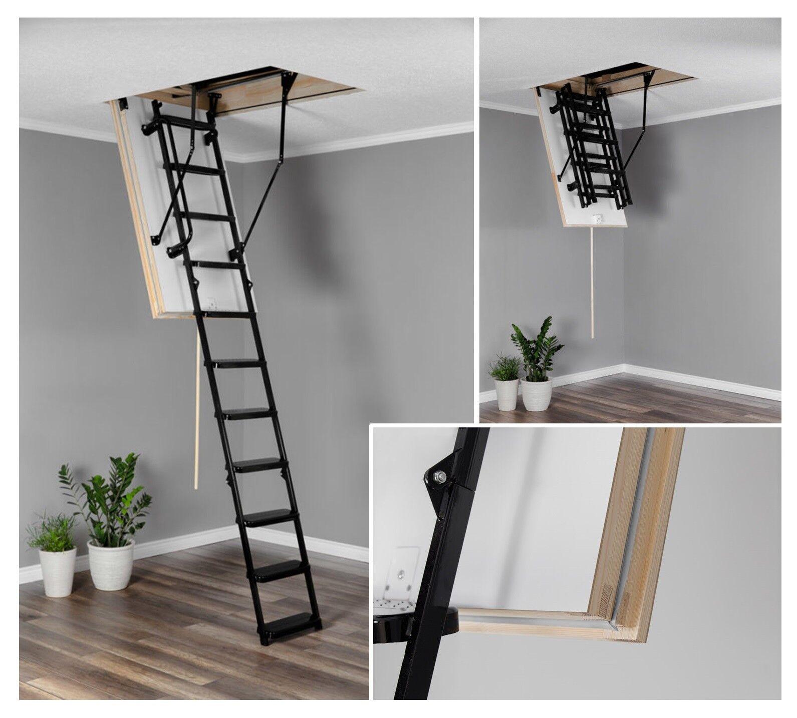 Bodentreppe OMAN SOLID Belastung von 210kg H280 Dachbodentreppe mit Metallleiter