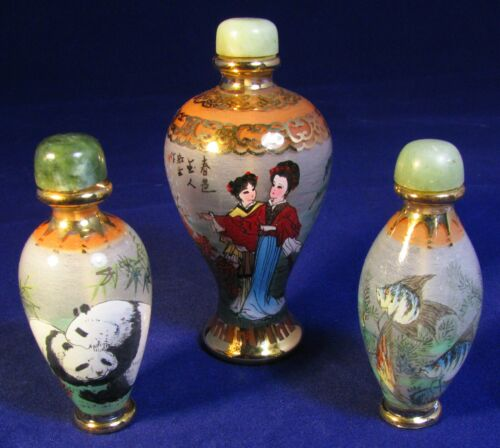 Rare Antique Glass Perfume Bottles with Asian Art | Collectible Set of 3