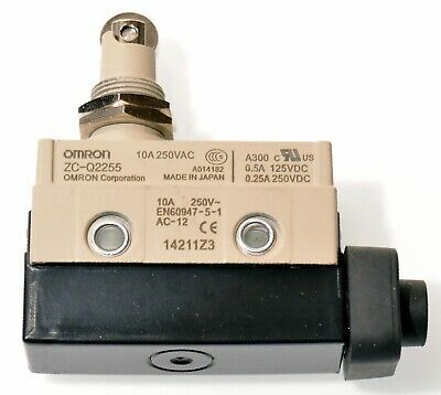 Omron Zc-q2255 Miniature Enclosed Limit Switch Panel Mount Roller Plunger