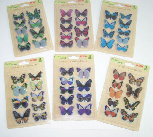 Crafters Square Pop Up 3D Butterfly Stickers Scrapbooking Choose Your Color