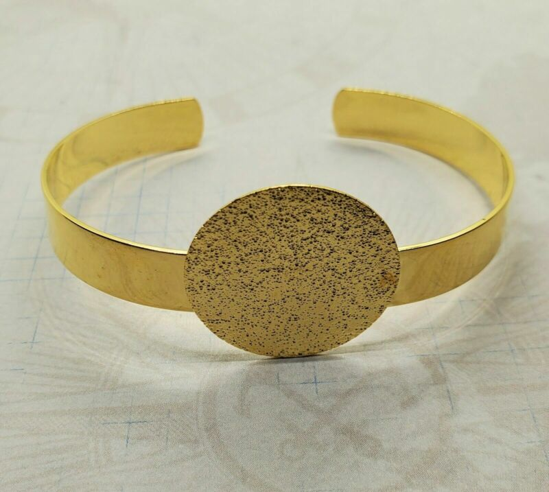 Gold Adjustable Cuff Bracelet With 25mm Setting Pad (1) - L1085