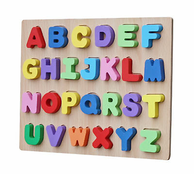 Alphabet Wooden Peg Puzzle (Kids Wooden English Alphabet Colorful Peg Educational Jigsaw Puzzle Child Gift )