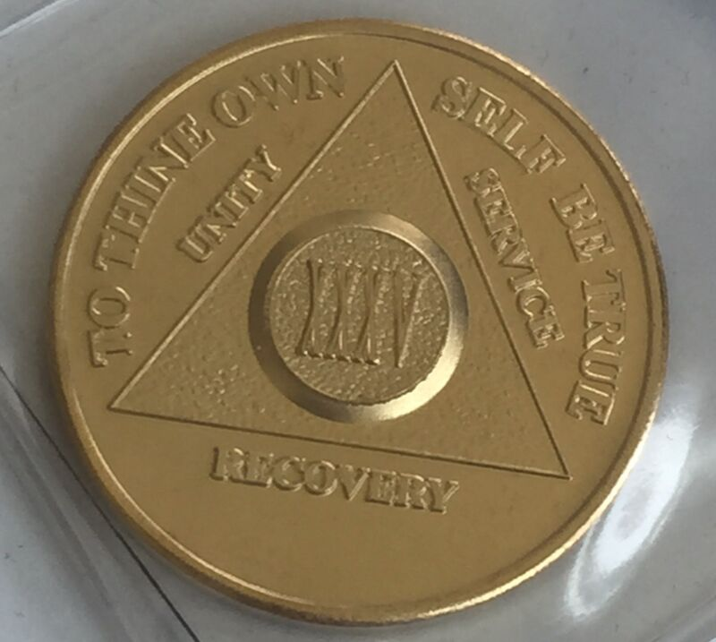 35 Year Alcoholics Anonymous AA 24k Gold Plated Medallion Chip Sobriety Coin