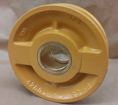 Johnson Sheave Pulley 8-25 7-7 8 Od 12 Rope Groove 2.22 Bore Wbushing