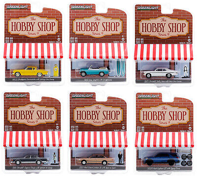 """THE HOBBY SHOP"" SERIES 9, SET OF 6 PCS 1/64 DIECAST MODEL CARS GREENLIGHT 97090"