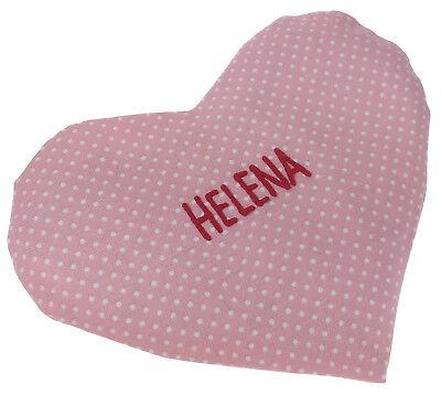 Herzkissen rosa Baby Punkte Rapskissen Wärme Babywärmekissen personalisiert