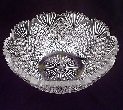 Large Rare Exceptional American Brilliant Period Antique Cut Crystal Bowl