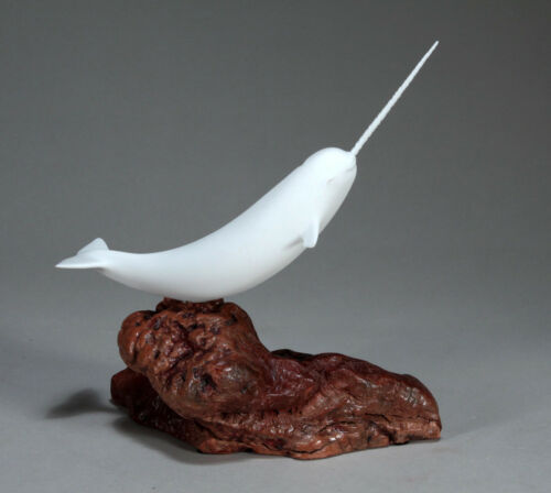 NARWHAL Sculpture NEW direct from JOHN PERRY 14in long  Pellucida Decor