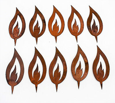 Flamme 10er Set Edelrost Metall, Rost Dekoration Kerze Weihnachten 15,5cm ()