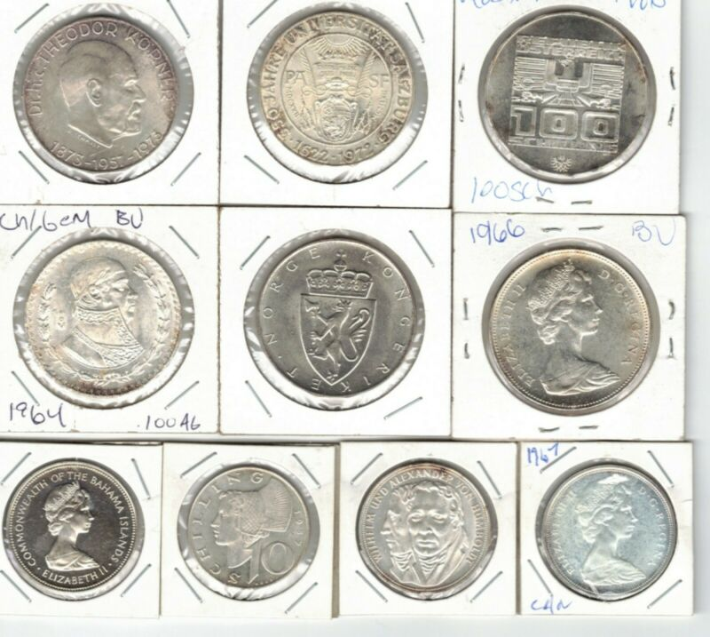 Ten (10) Uncirculated Foreign Silver Coins Medium/Large Size