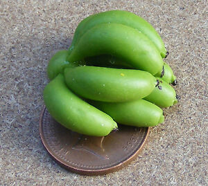 1-12-Scale-One-Bunch-Of-Green-Bananas-Dolls-House-Miniature-Fruit-Food-Accessory