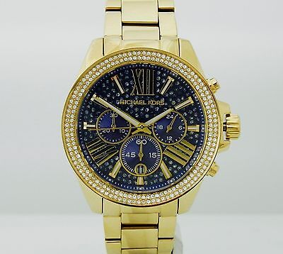 Michael Kors MK6291 Wren blue gold tone crystal pave chronograph dial watch