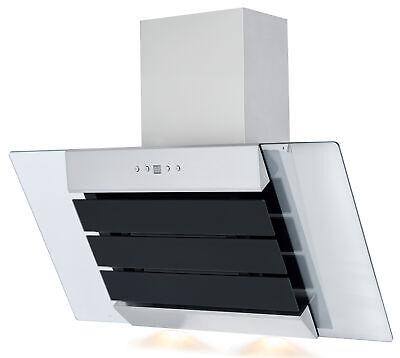PKM Campana Extractora 80CM Negro Acero Oblicua LED Recirculación Aire Cristal