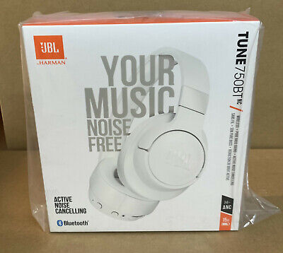 JBL Wireless On-Ear Active Noise-Cancelling Headphones White TUNE 750BTNC NEW