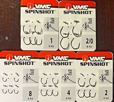 VMC Spin Shot Drop Shot Swivel Hook Black Nickel - CHOOSE SIZE 8 - -