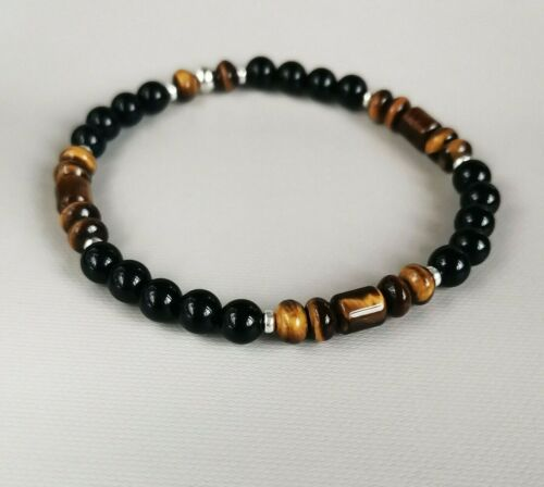 Mens+925+Sterling+Silver+stretch+Gemstones++Bracelet+black+Onyx+and+Tiger+Eye