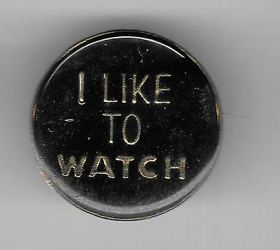 Vintage I LIKE TO WATCH black old enamel pin