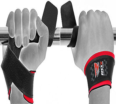 RDX Padded Leather Straps Weight Lifting Training Crossfit Gym Bar Wrist Support